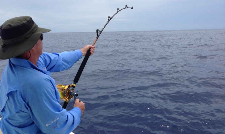 Keith Brack battles it out with a blue marlin off the Bahamas, aboard the MARC VI.