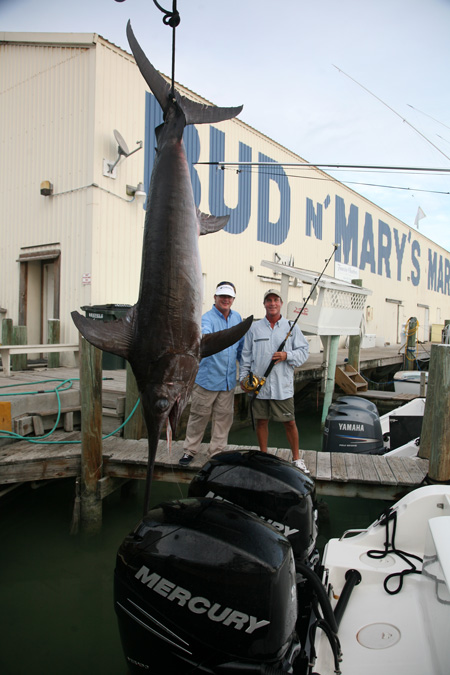 Carl and George with a 380-lb. swordfish
